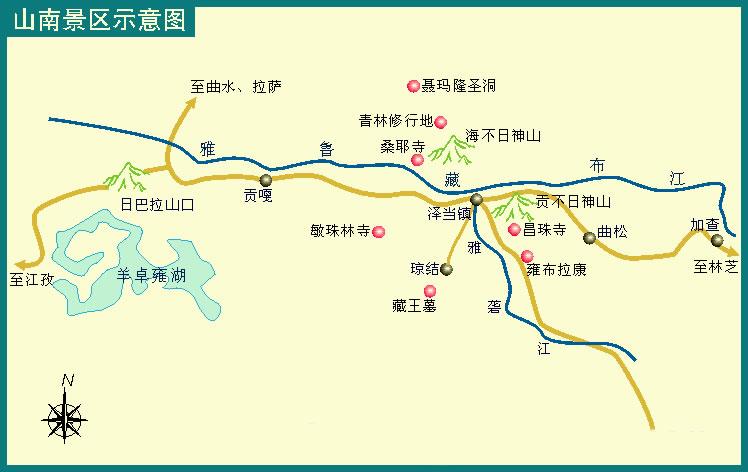在西藏旅游地图中,我们有提到 山南地区地图,即山南景区